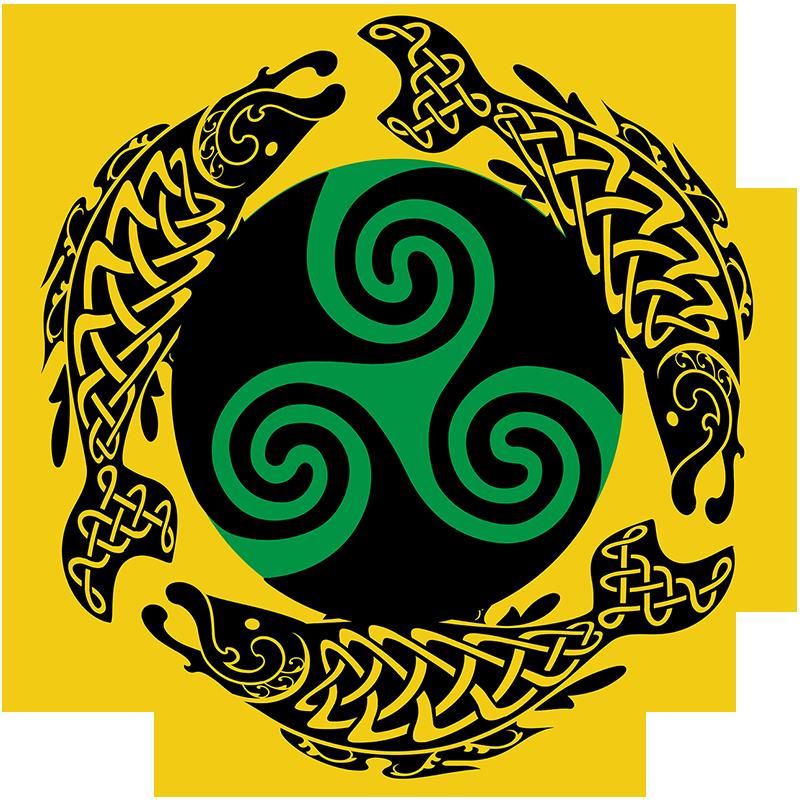 Yellow circular logo of the Irish Diaspora Decolonization Alliance - Bay Area featuring three stylized black salmon circling a green and black Celtic triskele symbol.