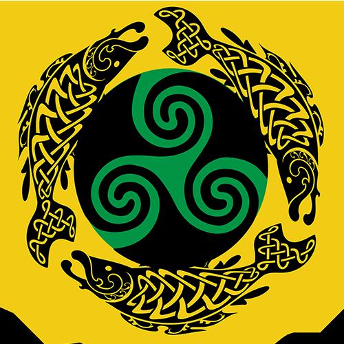 Yellow circular logo of IDDA featuring three stylized black salmon circling a green and black Celtic triskele symbol.